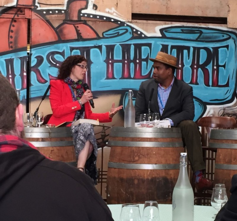 Caroline interviewing Gareth Oliver, Brooklyn Brewery during Litfest